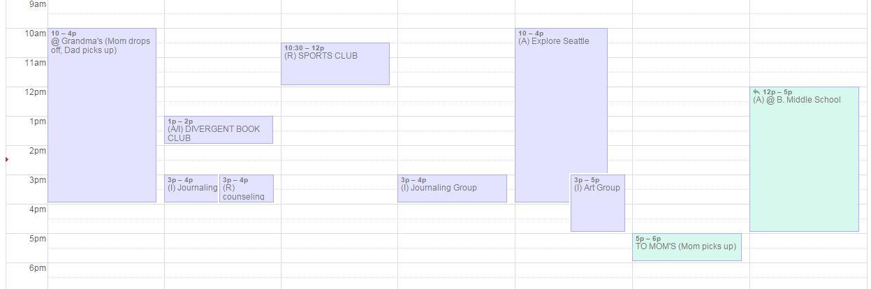 Google calendar week